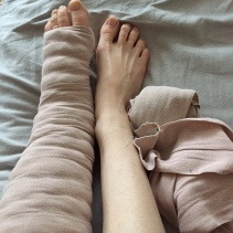 These are the short-stretch bandages I now use to wrap my leg. Immediately I felt MUCH better wearing these. I haven't had any swelling in my toes at all like I always had with the long-stretch bandages.